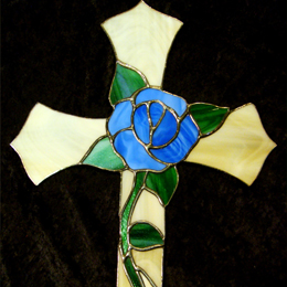 stained glass rose cross