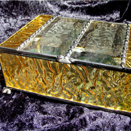 english muffle glass jewelry box with beveled glue chip glass top and silver mirror bottom